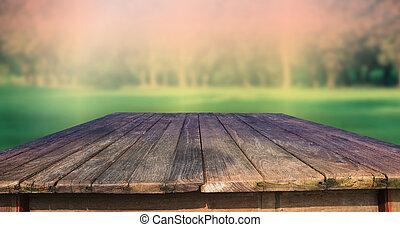 手ざわり, の, 古い, 木, テーブル, そして, 緑