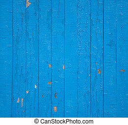 手ざわり, の, 古い, 荒い, 青, フェンス