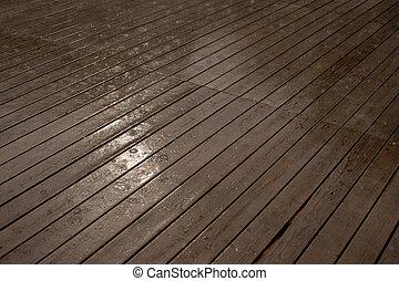 手ざわり, の, a, 木製である, 床をぬらしなさい, 雨