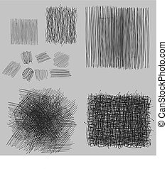 手ざわり, グランジ, set., イラスト, ベクトル, 企て, 荒い, 図画
