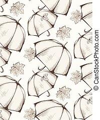 手ざわり, スタイル, グラフィック, 傘, 芸術, パターン, 手, 秋, バックグラウンド。, ベクトル, 季節, 引かれる, 線