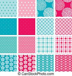 手ざわり, ピンク, セット, 生地, 男の子, -, 青, 女の子, seamless, パターン, 色