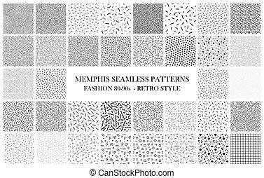 手ざわり, ファッション, 80-90s., patterns., seamless, 束, 黒, 白, メンフィス