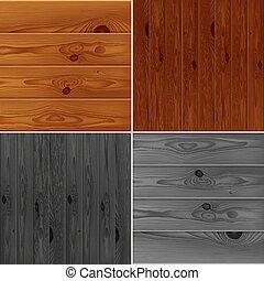 手ざわり, ブラウン, セット, 板, 灰色, 現実的, 木