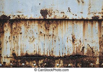 手ざわり, 古い, 背景, 壁, 金属, さび