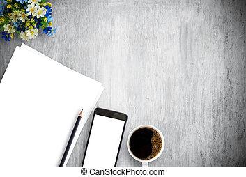 手ざわり, 古い, 背景, 木, カップ, コーヒー