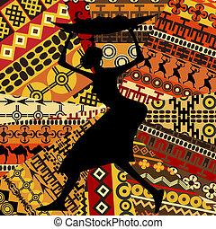 手ざわり, 女, 民族, 背景, アフリカ