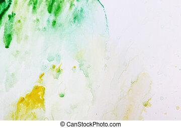 手ざわり, 水彩画, 現実的, ペーパー, 緑, 黄色の背景, 白