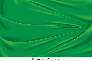 手ざわり, 緑, 波状, バックグラウンド。, ベクトル, 絹生地, イラスト