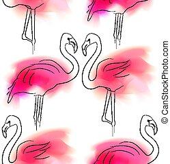 手ざわり, 輪郭, ピンク, 愛, 白人のファミリー, relationship., しみになる, イラスト, 対, seamless, bird., アウトライン, パターン, ベクトル, 色, バックグラウンド。, フラミンゴ