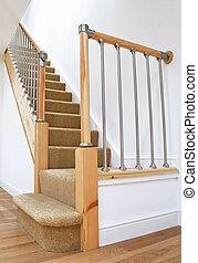 手すり, 典型的, 階段, イギリス, クロム, イギリス