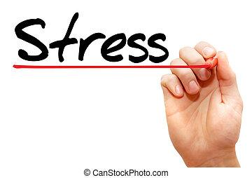 手の執筆, ストレス, ビジネス 概念