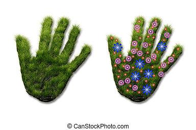 手の跡, の, 草