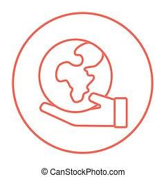 手の 保有物, 地球, 線, icon.