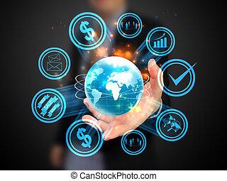 手の 保有物, world., 社会, 媒体, 概念