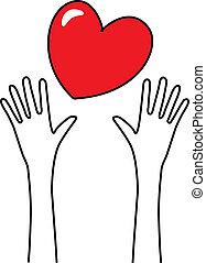 手を伸ばす, 愛, 手
