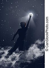 手を伸ばす, 月