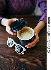 手を持ちなさい, coffee., 女性, カップ