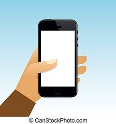 手を持つ, ブランク, smartphone, スクリーン