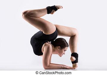 手倒立, 婦女, 體操, 年輕, 練習