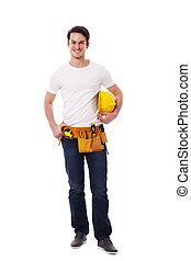 手動 労働者, 黄色, 保有物, hardhat, 微笑