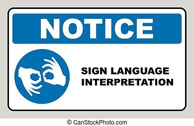 手勢語, 解釋, banner., mandatory, label., 藍色, 環繞, 被隔离, 上, white., 簡單, 套間, style., 矢量, illustration.