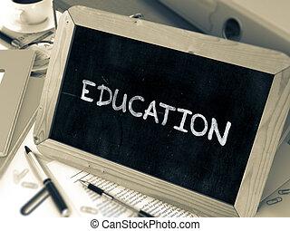 手寫, 教育, 上, a, chalkboard.