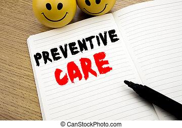 手寫, 正文, 標題, 顯示, 預防性, care., 生意概念, 寫, 為, 健康, 醫學, 關心, 寫, 上,...