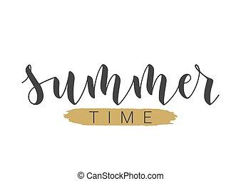手寫, illustration., 夏天, time., 字母, 矢量