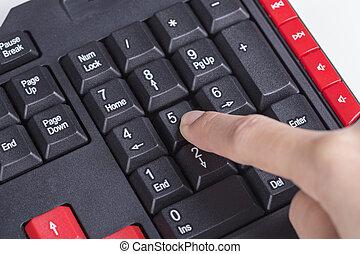 手指, 推, 數字, 按鈕, 上, 鍵盤, ......的, 電腦
