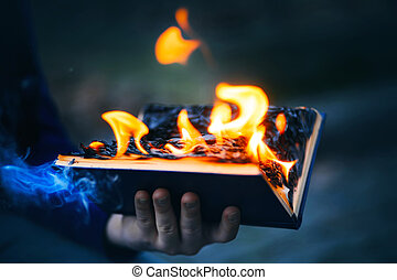 手掛かり, 彼の, 手, darkness., 開いた, 焼跡, 青, 出しなさい, 古い, ページ, 煙, 明るい, 本, 炎, 人