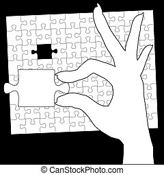 手掛かり, 最後, 困惑, ジグソーパズル, 手, 小片
