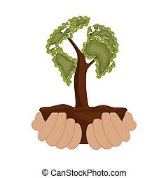 手掛かり, 木, 環境, デザイン, 手, アイコン