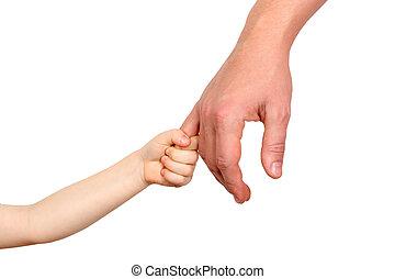 手掛かり, 父, 手, 背景, 子供, 小さい, 白