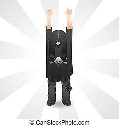 手掛かり, 隔離された, tシャツ, 長い髪, ベクトル, イメージ, ロッカー, の上, バックグラウンド。, 角, 印, 頭骨