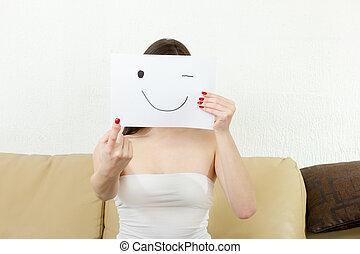 手掛かり, paper., smiley, 浸しなさい, 人差し指, 女の子