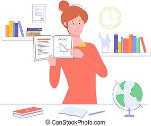 手掛かり, textbook., 教師, 女の子