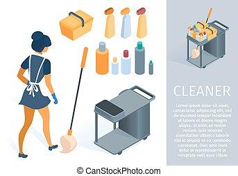 手推車, 少女, 卡通, 清掃, 制服