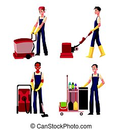 手推车, 男孩, 洗涤, 服务, 机器, 地板, 打扫, 清洁工, 真空