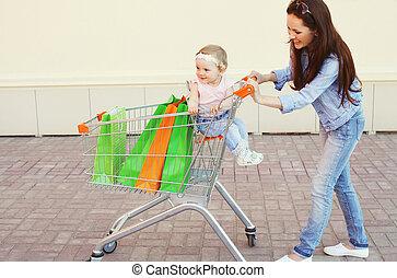 手推车, 袋子, 购物, 色彩丰富, 妈妈, 车, 孩子, 乐趣, 微笑, 有, 开心