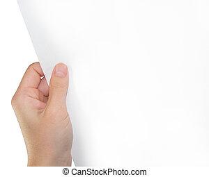 手握住, 白色, 纸