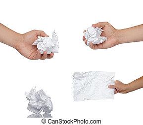 手握住, 纸, 在上, a, 白的背景
