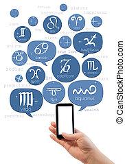 手握住, smartphone, 带, 以联机方式, 占星术, 站点, 样板
