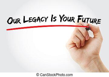 手文字, 我們, 遺產, 是, 你, 未來