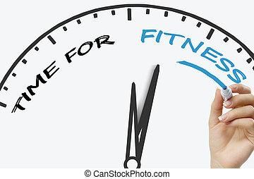 手文字, 時間, 為, 健身, 概念, 由于, 藍色, 記號, 上, 透明, 擦, board.