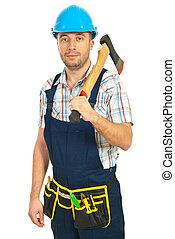 手斧, 労働者, 中央の, 保有物, 成人