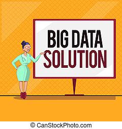 手書き, テキスト, 大きい, データ, solution., 概念, 意味, 引き抜くこと, 値, から, 巨大, ボリューム, の, a, 変化, の, 事実