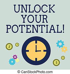 手書き, テキスト, 錠を開けなさい, あなたの, potential., 概念, 意味, 明らかにしなさい, 才能, 雌豚, 技能, abilities.