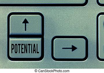 手書き, テキスト, potential., 概念, 意味, 潜伏, qualities, 能力, 容量, へ, 発展しなさい, 中に, 未来