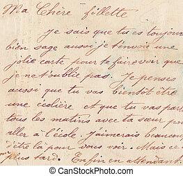 手書き, 古い, フランス語